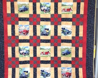 Vintage car queen quilt
