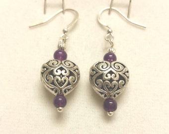 Amethyst and heart earrings