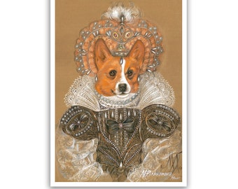 Corgi. The Queen / Welsh Corgi / Corgi Art Print / Royal Dog Portraits of Animal Century