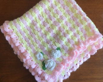 Crochet Baby Girl Blanket Floral Pink and Yellow