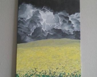 Lightning Yellow Flowers Field Landscape Painting