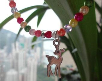 Single Strand Multi-Colour Bead Bracelet / Silvery Bambi Charm