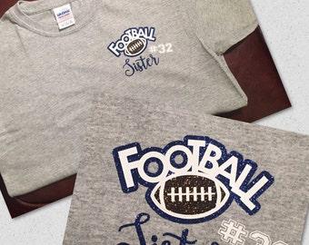 Football Sister Custom T-shirt featuring Jersey #