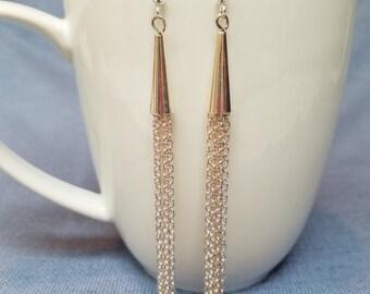 Silver chain earrings, silver cone earrings, dangle earrings, chain earrings, 3.25-4.5 inches