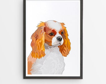 Cavalier King Charles Spaniel Illustrated Breed Print  / Various Colours /  Dog Lover's Gift / Poster