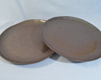ON SALE:  Very Large Handmade Ceramic Dinner Plates (2), Deep Brown - 12.25""