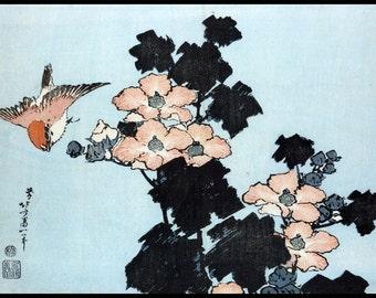 Bird and Flower Print - Flowers Vintage Print - Japanese Vintage - Blue - Woodblock - Japanese Art - Kacho-e - Digital Download - Hokusai