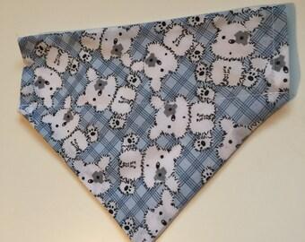 Handmade Blue Check Pet Bandana - Small