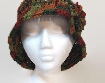 Cloche hat, women hat, floppy hat, women cap, retro inspired hat, crochet hat, women winter hat in Autumn colors