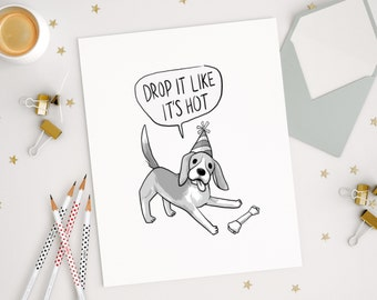 Funny cards, dog cards, birthday, greeting cards, congratulations, party dogs, cute dogs, blank card, dog illustration, dog digital download