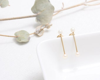 Sterling Silver Double Freshwater Pearl Accent Skinny Bar Stud Earrings