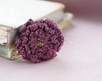Grape crochet flower brooch 2,  accessory