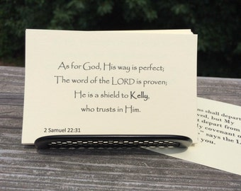 "Personalized Scripture Bible Verse Cards - Set ""Step by Step"" with Display Stand"