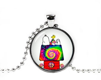 Snoopy Hippie Woodstock Necklace Pendant Snoopy Jewelry Snoopy Round Pendant Fangirl Fanboy