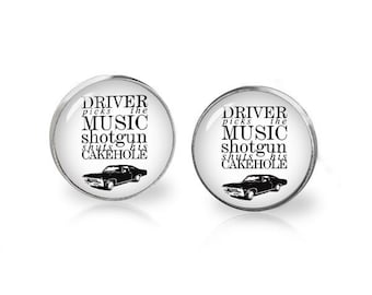Supernatural Stud Earrings Driver Picks the Music Supernatural Earrings Supernatural Jewelry Fangirl Fanboy