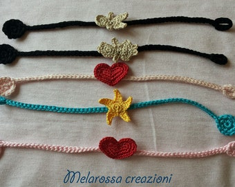 Summer bracelets for men and women in cotton crocheted with yarn.