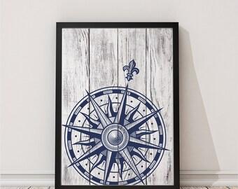 Printable Art Print Compass Print  Nautical Print Beach House Decor Watercolor Prints Nursery Prints