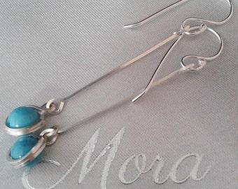 silver dangle earrings, turquoise earrings, turquoise drop earrings, silver and turquoise earrings, silver drop earrings, turquoise beads