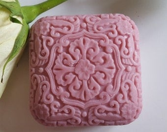 Square Soap Oriental design, beautifully detailed form, handmade