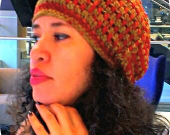 Ready To Ship Crochet Women's Beanie, Women's Autumn Hat, Women's Tam, Women's Beret