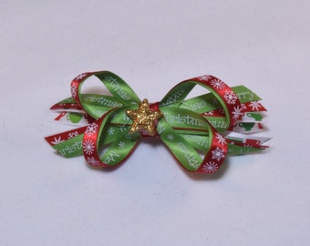 Green, Red and White Merry Christmas Hair Bow with Sparkle Gold Star Center