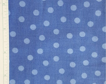 Blue Polka Dot Fabric, 100% Cotton, Quilting Fabric, BTY
