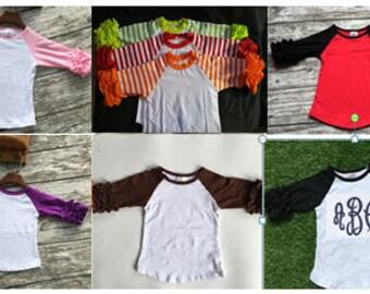 Girls Ruffle Raglan Shirts- Multiple Colors Monogramable Shirts