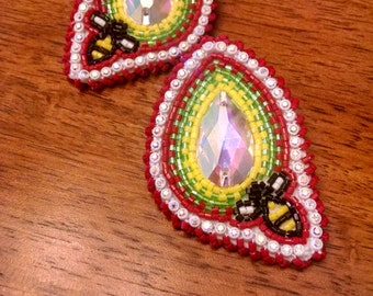 Native American beaded BEE earrings