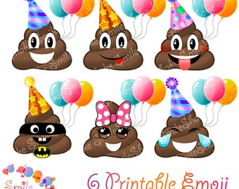 PNG Emoji ClipArt POOP Birthday party decorations Smiley faces Poop invitations Printable emoticon design Happy smile Feelings POOP clipart