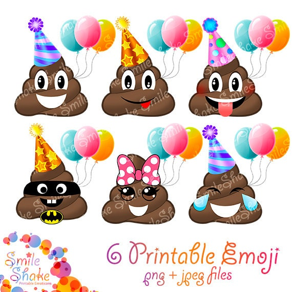 PNG Emoji ClipArt POOP Geburtstags Party Dekorationen Smiley Faces Poop  Einladungen Druckbare Emoticon Entwurf Glückliches Lächeln Gefühle POOP  Clipart