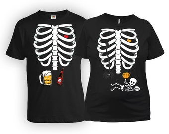Matching Halloween Costumes Couples T Shirt Baby Announcement Skeleton Shirt Couple Costume Ideas Expecting Mother New Dad Gift FAT-487-491