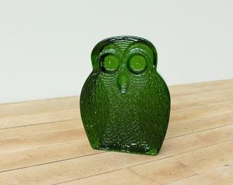Blenko Glass Owl Bookend, Mid-Century Modern