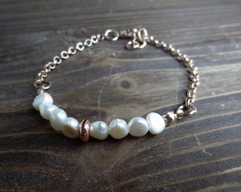 Rosegold bracelet with real freshwater pearls