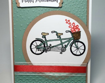 Handmade Tandem Bicycle Happy Anniversary card, congratulations, bicycle built for two, funny anniversary, basket of hearts, love card