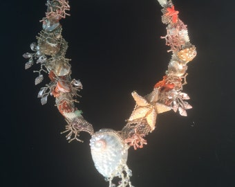 Starfish Necklace Free Form Beaded With Shells and Crystals