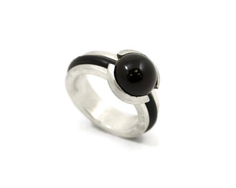 Rubber Black Onyx Ring, black rubber ring, Sterling Silver Ring, rubber, 925 silver ring, silver jewelry, ring, rubber jewelry, black ring
