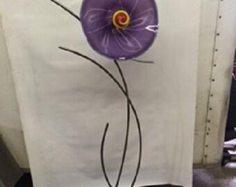 glass and metal garden flower sculpture