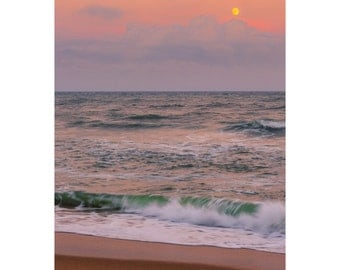 Outer Banks, Cape Hatteras, Beach Photography, Sunset Photography, Full Moon, North Carolina, Coastal Art, Seaside Art, Fine Art, Home Decor
