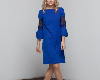 Embroidered Long Dress blue for women. Ukrainian Vyshyvanka. Embroidered dress. Casual dress