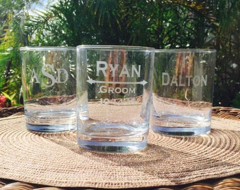 Personalized Whiskey Glasses, Groomsmen Gift, Custom Engraved Whiskey Glass, Wedding Party Gifts, Gifts for Groomsmen,  Personalized Glasses