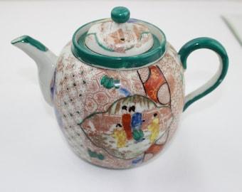 Antique Teapot, Vintage Oriental Famille Rose Teapot,  Scenes in a Japanese Garden