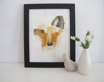 Watercolour Dripping Fox Face, Orange And Yellow, Watercolour Print, Unframed Print, Watercolour Animals