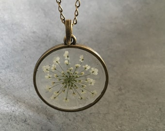 White Queen Anne's Lace in a Slim Antique Bronze Open Back Bezel Resin Necklace, Resin Jewelry, Pressed Flower Necklace, Resin Pendant