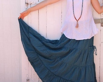 Gauze Cotton Boho Gypsy Tiered Skirt in DARK TEAL // Pockets, Natural Fiber, Flexible Waistband / Breathable Elegance!