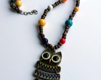 Hoo Hoo Loves Color Owl Necklace