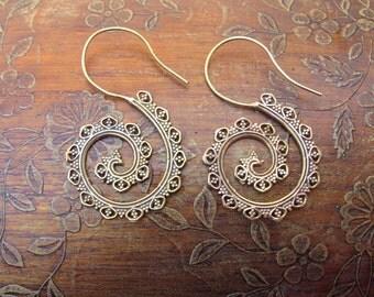 Tribal Brass Earrings. Hoop Earrings, Brass Tribal Earrings, Boho Earrings. Gypsy Hoop Earrings. Ethnic Earrings. Boho Earrings.