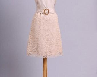 1960 Mod Lace Vintage Wedding Dress