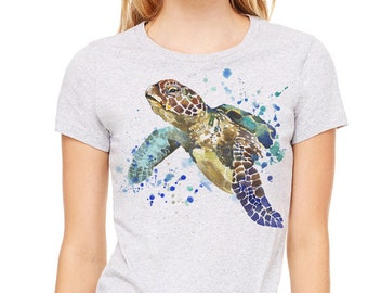 Turtle shirt, Colorful watercolor image of swimming turtle printed on a heather gray t-shirt, women's t-shirt, gray tee, turtle tee, turtle