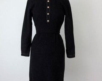 60s charcoal wiggle dress / X-small