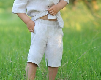 Boys Linen Shorts Natural linen shorts Boys clothing Handmade linen shorts For summer